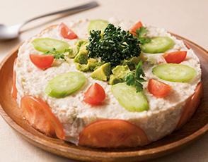 タラモサラダのガトー仕立て アボカド添えの写真