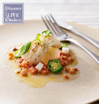 鱧の軽い炙り タコ、長芋、オクラの梅肉風味ソース 冬瓜を添えての写真