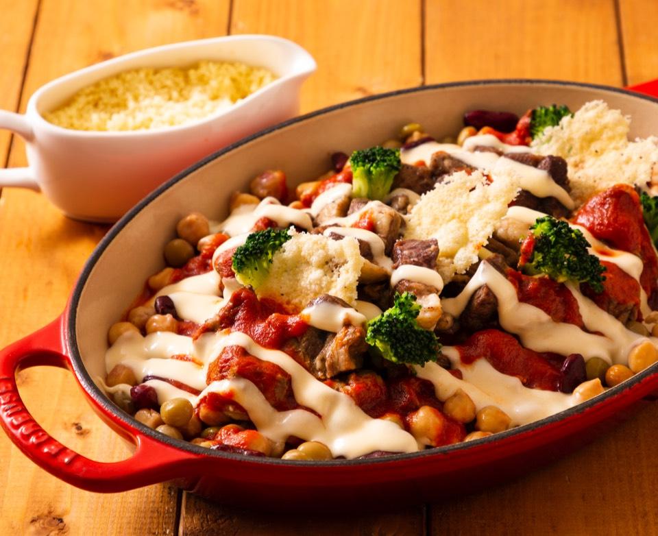 羊肉と豆のカスレ チーズソース クスクス添え
