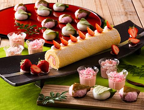 デザートには苺スイーツと和菓子が登場!